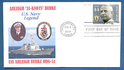 Fdc Naval Cover Distinguished Sailors - 44C Admiral Arleigh Burke Stamp 2-4-2010