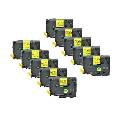 """10PK Heat Shrink Cartridge Label Black on Yellow HSe641 For Brother P-Touch 3/4"""""""