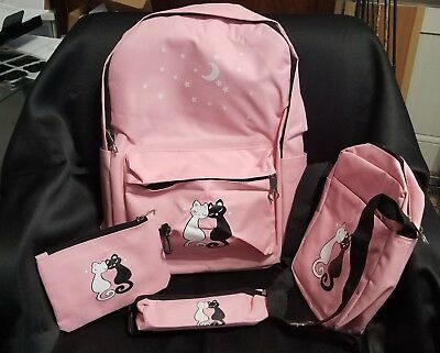 4 pc Cat and Moon Backpack set, Pink