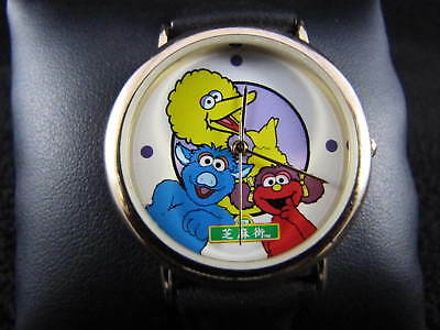 Vintage 1998 SESAME STREET China Launch NEW BATTERY & NEW LEATHER BAND Watch