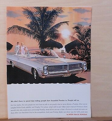 1963 magazine ad for Pontiac - 1964 Bonneville at beach, silent smooth ride