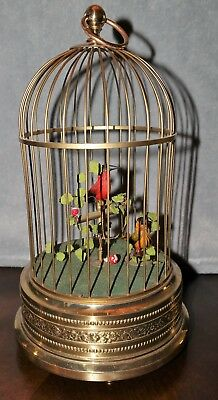 German Double Bird Singing Widening Music Box Cage - Very Good Working Condition