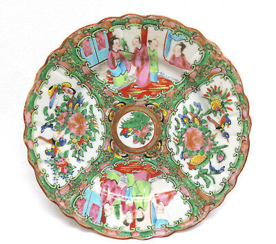 Antique Chinese Export Porcelain Plate Canton Famille Rose w/ Scalloped Edge