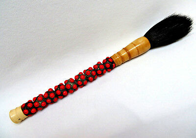 Vintage Japanese Chinese Bone w/ Red Coral Glass Stones Calligraphy Paint Brush