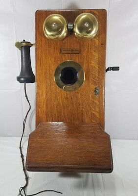 Antique Western Electric Wooden Hand Crank Wall Phone Model 337