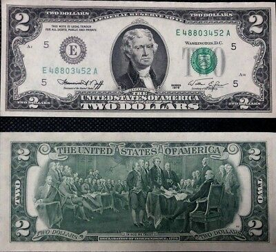 $2 Dollar Bill Two Dollar Bill 1976 Magnificent! Uncirculated, New And Crisp!