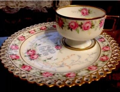 Antique Victorian Hand Painted Roses Tea Cup & Matching Breakfast Biscuit Plate
