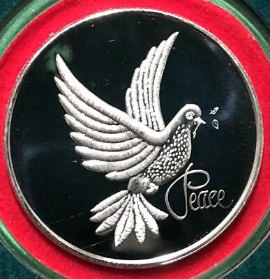 Merry Christmas Peace Dove Gift 1 Troy Oz .999 Fine Silver Round Proof Coin 999