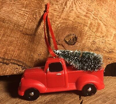 Red Vintage Pick Up Truck Christmas Ornament Tree New