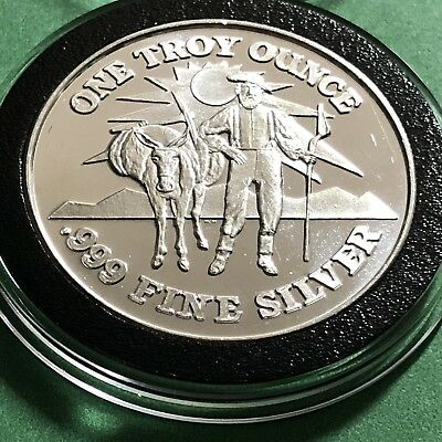 Pick Shovel Prospector Donkey Assay No 139 1 Troy Oz .999 Fine Silver Round Coin