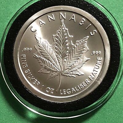 Cannabis Leaf On Maple Silver Bullet Shield 1 Troy Oz .999 Fine Round Coin Medal