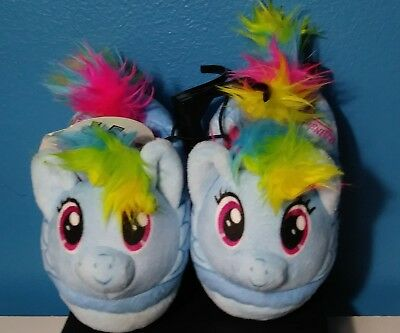 Toddler House Shoes My Little Pony Rainbow Dash Plush Slippers Girl's S 5/6 NEW