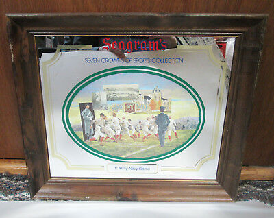 Seagram's Whiskey Seven Crowns Sports Collection Mirror Sign 1st Army Navy Game
