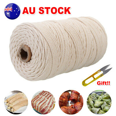 200m 100% Natural Cotton String Twisted Cord Beige Macrame Artisan Craft 3mm HOT