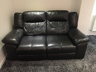 DFS BLACK LEATHER Two Seater Sofa And Poufee Electric Recliner