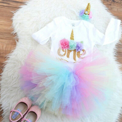 AU Newborn Baby Girl 1st Birthday Unicorn Romper Rainbow Tulle Skirt 3PCS Outfit