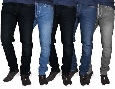 Mens Slim Fit Jeans Stretch Straight Leg Denim Cotton Trousers Casual Pants