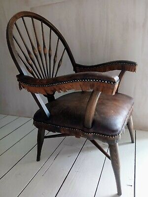 Mid Century Real Leather Fringed Armchair/Occasional Chair