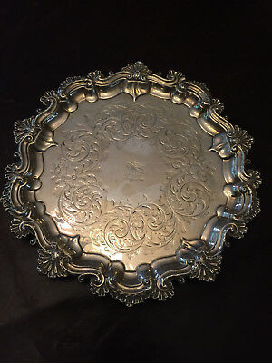 1867 Victorian Sterling Silver Serving Tray Salver Server Platter 403g Martin