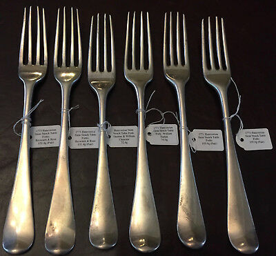 6x 1770s Georgian George III Sterling Silver Table Forks Hanoverian Stem 434g