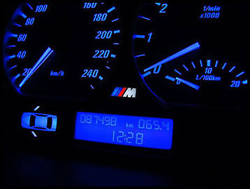 BMW E46 INTERIOR LED BLUE DASH CONVERSION SPEEDO (red-white) + LCD FILTERS