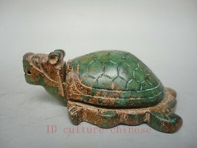 Collect China Old Natural Green Jade Hand Carving Lovely Turtle Decorati Amulet