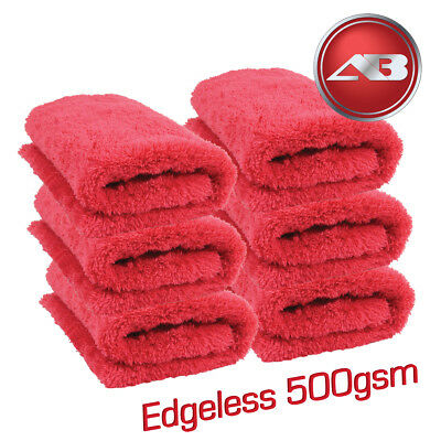 Edgeless Microfibre WOW 500gsm Soft Aqua Deluxe 6 Drying Towels Car Detailing