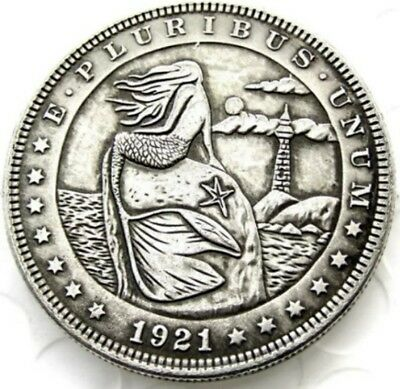 New Hobo Nickel 1921 Mermaid Morgan Dollar Beach Ocean lighthouse Casted Coin