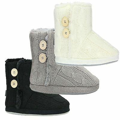 Ladies Womens Slip On Warm Fleece Fur Lined Slipper Ankle Boots Booties Bootee