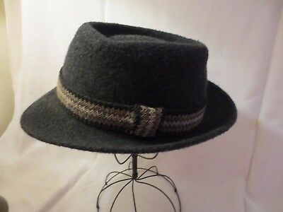 VINTAGE 1950s COAST TO COAST NATIONAL CLUB CHARCOAL GREY WOOL FEDORA 6 5/8