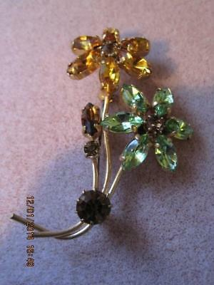 Gorgeous Vtg Amber & Light Green Marquise Flowers & Leaf Gold Tone Brooch
