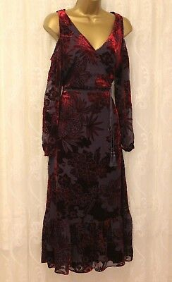 4ea2e1cfecfff Karen Millen Cut Shoulder Floral Devore Velvet Party Occasion Midi Dress 10  38