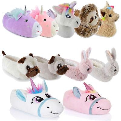 Kids Girls Slippers 3D Novelty Plush Animal Unicorn Bunny Warm Cosy Fluffy Gift