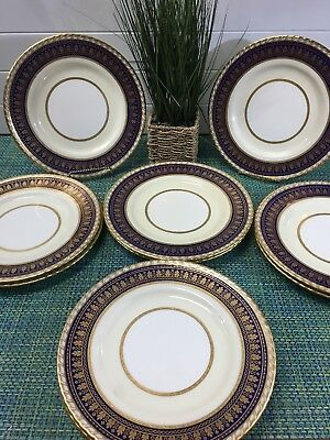 SET 10 GOLD ENCRUSTED DINNER PLATES MINTON(S) CHINA Pa2110 COBALT BLUE GADROON