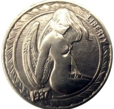 Rare Hobo Nickel 1937 Beautiful Angel Sitting Buffalo on Back Casted Coin