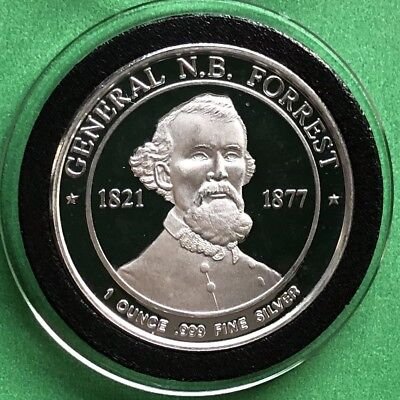 General N.B. Forrest Deo Vindice 1 Troy Oz .999 Fine Silver Proof Coin Round 999