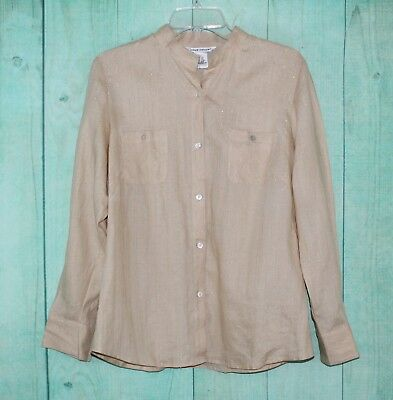 Richard Malcolm Women S Linen Shirt Blouse Size L Large Beige Long