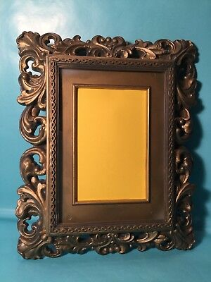 1960's Ornate Carved French Faux Brass DIY Hanging Picture Frame w/PVC Mat 8x10