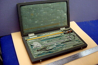 Early Soviet Made Vintage Drafting Instruments Set In Their Green Velvet Case