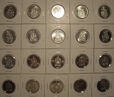 A Canada 50 Cent Coins 1969 - 2018 - Lot of 20 BU Coins