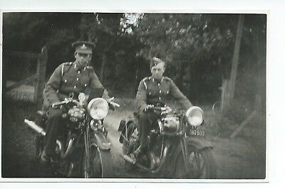 Real photo postcard of 2 Soldiers on motorcycles 1 is a BSA very good condition