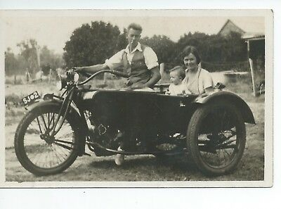 Real photo postcard of an early motorcycle and sidecar in very  good condition