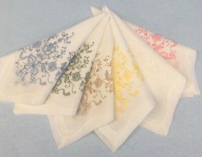 "Set of 6 Hand Embroidered Linen Handkerchiefs NICE ""Moseley's"" New Old Stock"