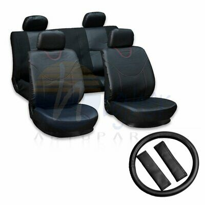 Black PU Leather+Polyester Comfortable Car Seat Covers W/Steering Wheel cover