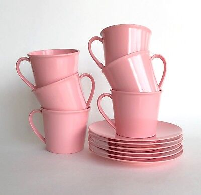 Vintage Pink Melamine Cup and Saucer Pair Retro Atomic 50s