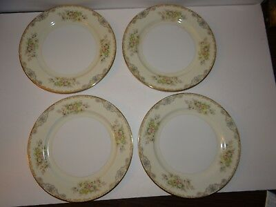 Vintage Meito Set of 4 Dinner Plates Made in Japan Hand Painted