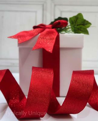 New Christmas Red Shimmer Ribbon Wire Edged Gift Wrapping Tree Decoration 'rex'