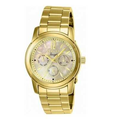 Invicta 0466 Womens Angel MOP Gold Tone Dial Gold Tone Steel Watch