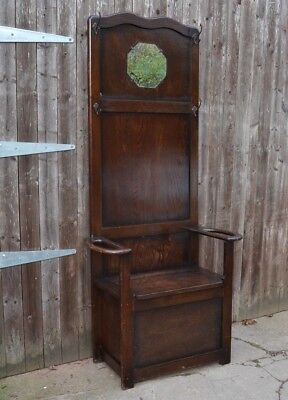 Vintage Oak Coat Stand Hall Seat Monks Bench Hall Settle Storage to Paint?