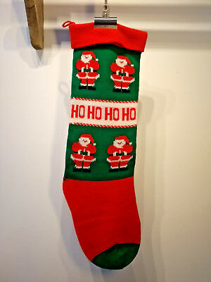 XL Vintage Knitted Christmas Stocking with Pom Poms Kitsch Retro Santa Father